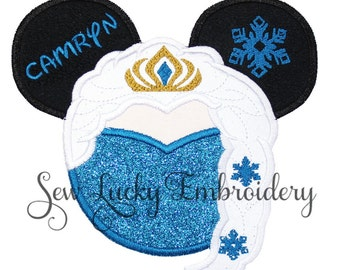 Princess Mouse Head Personalized Applique Embroidered Patch, Sew or Iron on