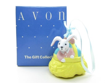 Busy Bunny Easter Ornament Vintage Avon Basket of Eggs with Box