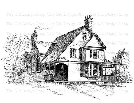 Victorian Cottage Clip Art Vintage House Illustration Digital