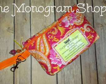 Ready To Ship! Pink & Orange Paisley, Fully Lined, Quilted Zippered Wristlet Clutch Purse Wallet, Keychain Ring, With License Picture Window