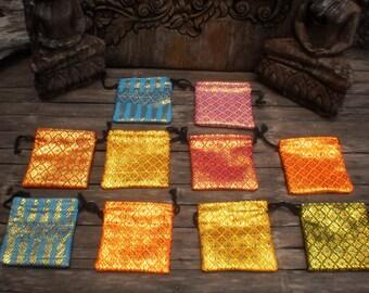 Jewelry Gift Purses,Set Of 10,  Lai Thai Fabric Bag, Coin Purse, Brocade Gift Bag, Tribal Purse , Draw String Bag, Folk Art Bag, Little Bag