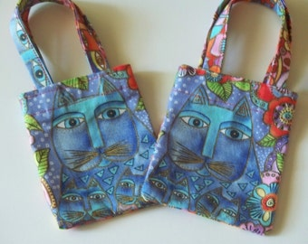 Gift Card Holder - Cat Print -  Laurel Burch  Fabric. - For Cat Lovers - Mini Fabric Tote Bags
