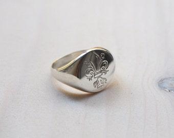 Fleur de Lis Signet Ring, hand engraved sterling silver, unisex