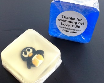Penguin Soap Favors, 12, Choice of scent and color, CUSTOM Labels