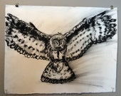 """My people perish for lack of knowledge"""" Owl Original Charcoal Drawing on  18x24 inch 80 lb drawing paper"""