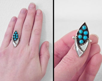 ZUNI Navette Ring 70s Turquoise Mother of Pearl US Size 4.5