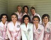 Monogrammed Satin Robes for Bridesmaids Gifts, Personalized Satin Robes, Monogram Satin Robes, monogram Satin wedding robes, Brides Robes