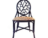 Vintage Black Rattan Side Chair, Leopard Upholstery