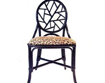 Vintage Black Rattan Side Chair, Leopard Upholstery