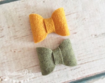 Fall Baby Bow. Fall Toddler Barrettes. Mustard Baby Bow. Olive Baby Bow. Toddler Bow. Toddler Barrette. Piggytail Bows.  Pigtail Bows.