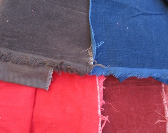 Cotton Corduroy Fabric Pinwale 4 Pieces Red, Rust, Navy Blue, Brown Yardage Plus Scrap Vintage Good Quality