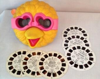 Vintage Big Bird Viewmaster Viewer and Six Reels