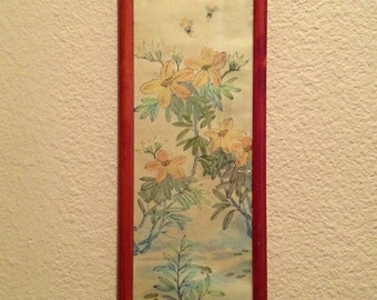 Vintage Framed Under Glass Asian Print Yellow Flowers with Bees