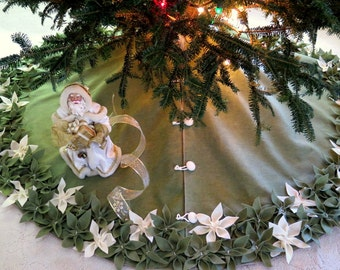 """54"""" Christmas tree Skirt in Olive Green Felt with Green and Ivory hand sewn poinsettas.  """"FREE SHIPPING"""""""