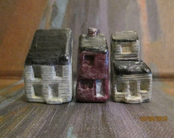 miniture houses 3 mini village handmade  see all 5 sets to create entire town  convo me if you wish to buy more than one MAINE
