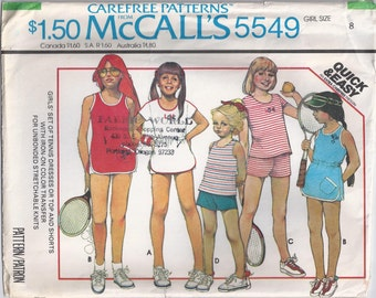 Stretch Knit Tennis Dress Or Top And Shorts Girls Size 8 Childrens Sewing Pattern 1977 McCalls 5549