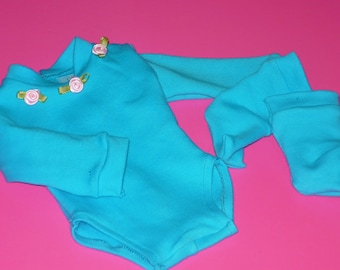 Cotton Knit Blue Body Suit and Socks fits American Girl Dolls