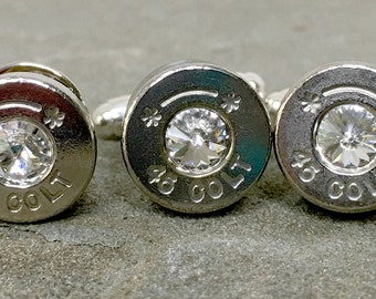 Bullet Cufflinks Swarovski Colt 45 with Bullet Tie Pin Set