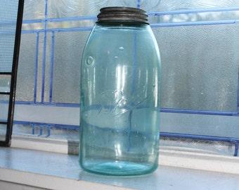 Half Gallon Blue Ball Jar with Zinc Lid Antique 1896 to 1910 Canning Jar Triple L Logo