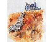 Watercolor ORIGINAL- Beach House Boddam Scotland - Scottish stairs hill sea coast