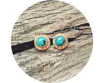 Turquoise Stud Earrings // Tribal // Gold Stud Earrings // Boho Style // Raebird
