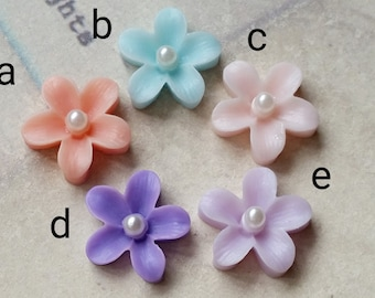 13 mm Assorted Colour Little Resin Flower With Pearl Bead Cabochons (.ti)(rc)