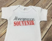Honeymoon Souvenir Baby One Piece or Shirt (Custom Colors/Wording)