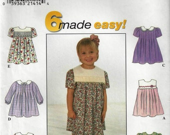 Simplicity Easy in 6 Styles #8065 Toddler Dress Pattern Sz 2-4 1998  UncutFactory Folded