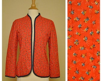 ON SALE Vintage Quilted Jacket Red with Small Floral Print Long Sleeve Size Small