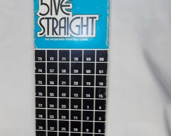 Five Straight Game Vintage 5ive Straight Strategy Peg Board Game 1968 Strategy Game Card Board Game