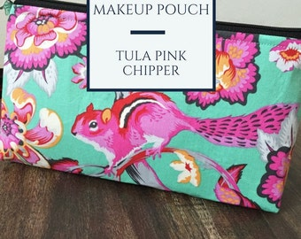 Handmade Tula Pink Chipmunk Makeup Pouch