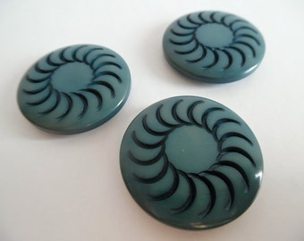 SALE :)))) 3 x Art Deco Carved Bakelite Coat Buttons 3 Large Shank Dramatic Vintage 20s 30s Geometric Teal
