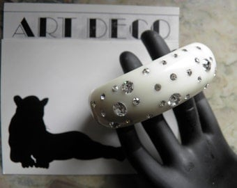 White French Bakelite Era Bracelet Studded with Bright Rhinestones