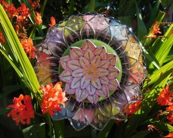Glass Plate Garden Art Fantasy Flower for Your Everlasting Garden