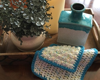 Crochet Kitchen Dishcloths -  Set of 2 Made to Order - Turquoise and White
