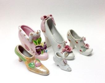 Vintage Collection of Procelain Shoe Figurines - Five Beautiful Vintage Ceramic Ladies Shoes