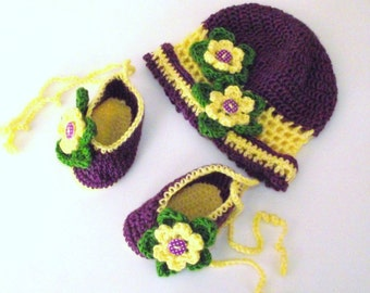Crochet Hat & Booties set. with croched Flowers. Handmade for baby or Reborn C