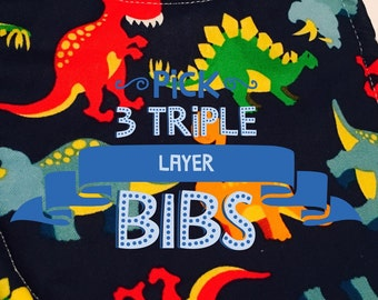 Baby Bibs Triple Baby, or toddler BOY Pick 3 cotton prints and the backing fabric. Triple layer moisture blocking design Free US Shipping