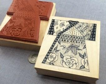 Asian Oriental Kimono Rubber Stamp
