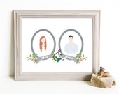 Though Very Humble : Custom Succulent Cactus Cameo Wedding 8x10 Portrait Illustration