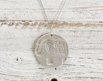 Ceramic Elephant Pendant, Soft Grey, Unique Gift, Elephants, Gift for Her, Boho, Zen, Ceramics, Elephant Jewelry, Ceramic Jewelry