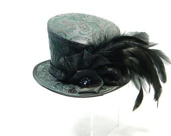 Tophat asymetric black Gothic Funeral Steampunk Ladies Hat Fascinator Bibi Chapeau Victorian Costume Gothic Burlesque dark gotico gothique