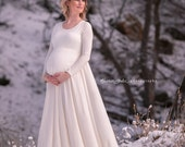 Maternity Maxi Photography Dress -Casual Wedding(Non PG Available)- Natural Fiber Jersey w/Opt.Sash-Choice of Color&Sleeve -XXS thru Large