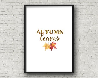 AUTUMN LEAVES Floral Alphabet Printable, DIY Wall Art, Cards, Crafts, Easy to download and print.