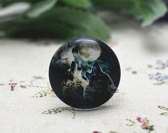 4pcs 25mm Round Handmade Photo Glass Cabochon - Wolf