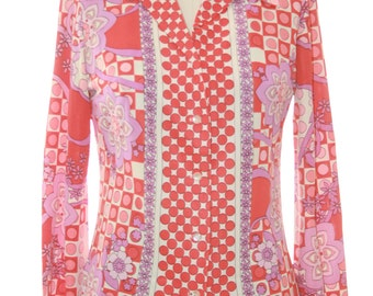 70s Psychodelic Print Funky Button up Collared Shirt Blouse