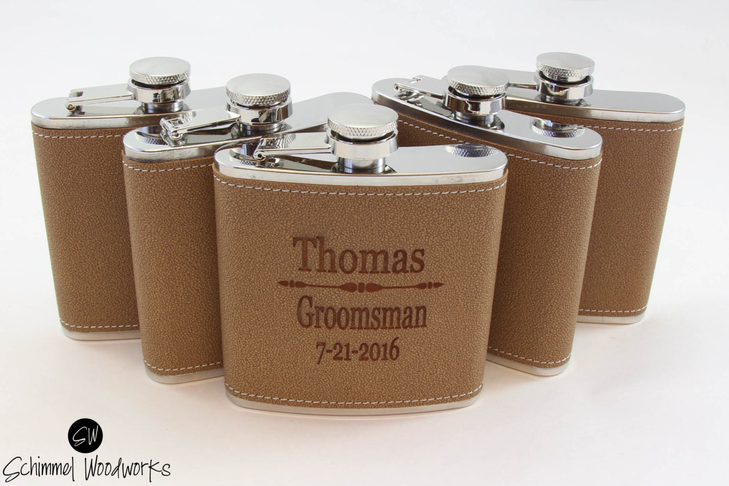 7 pack Groomsmen Gift Leather Flask Gift, Personalized Best