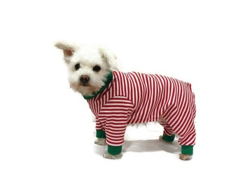 Dog or Cat Pajamas - Red and White Candy Cane Stripe Christmas Dog Pajamas or Cat Pajamas - Dog Clothes - Cat Clothes