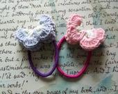 Pink and Gray Crochet Butterflies Hair Ties. Handmade Butterflies Hair Ties.