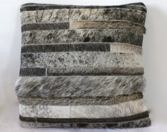 Cowhide Pillow - Grey Gray Stripes Patchwork Cushion - 15 x 15 in